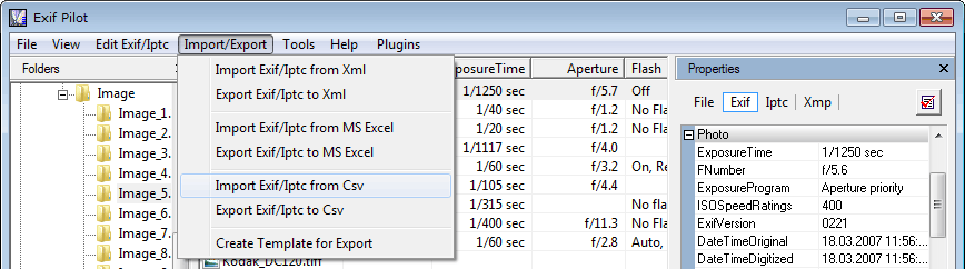 Import Exif from CSV format