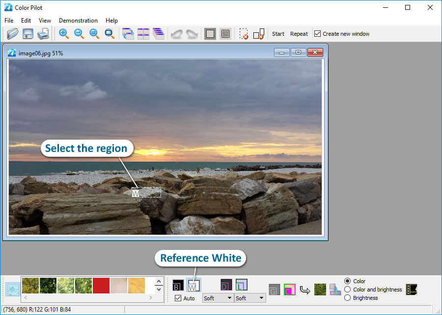 Choose the Reference White tool and select the region