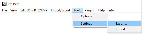 Export Settings from Exif Pilot