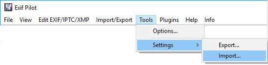 Import Settings to Exif Pilot
