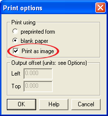 Print as image setting is activated