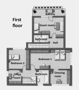 Correction of a distorted floor plan - result