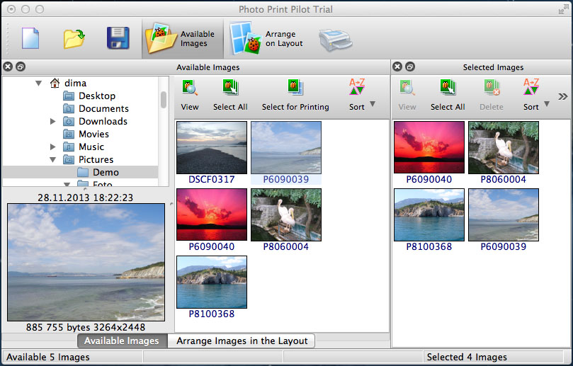 Choose a folder with images for printing from Available Images