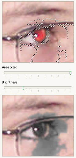Red eye reduction with Red Eye Pilot - maximum area size