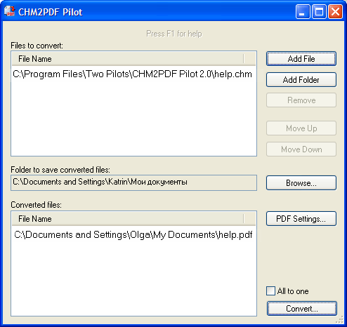 Converts CHM to PDF files