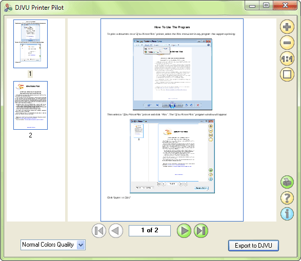 Screenshot of DjVu Printer Pilot 1.0