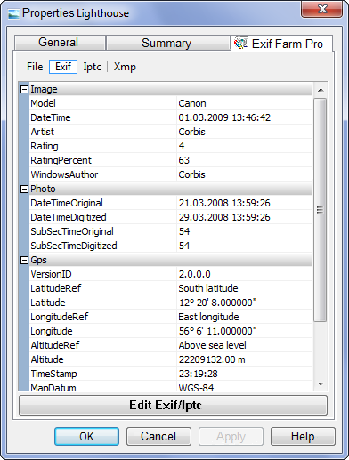 Click to view Exif Farm Pro 2.3 screenshot