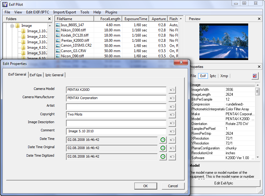 Click to view Exif Pilot 4.7.2 screenshot