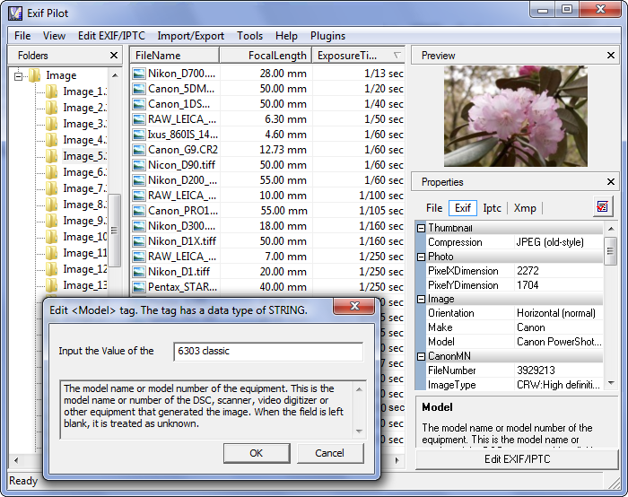 Batch Editing Plug-in for Exif Pilot screenshot