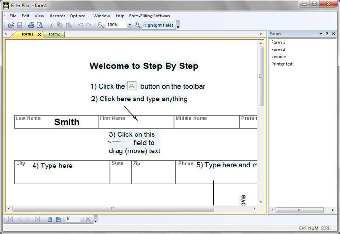 Form-filler for working with special forms created with Form Pilot Office.