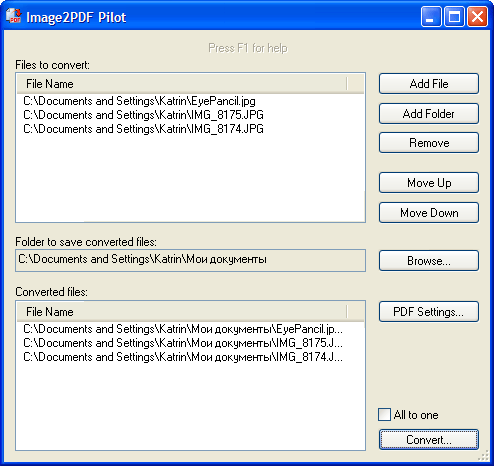 Click to View Full ScreenshotImage2PDF Pilot 2.16.96 screenshot